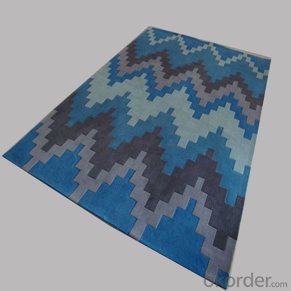 Wool Rug with Blue Grey Modern Stripe Design and Cheap Price