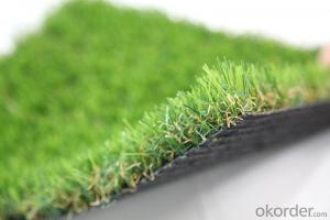 Monofilament , Curly Yarn Green Turf Landscaping Artificial Grass For Villa , Home Garden
