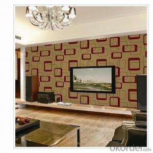 PVC Wallpaper Vinyl Covered Deep Embossed Geometric Dining Room