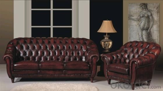 Chesterfield Genuine Leather Sofa Wooden Feet 3+2+1