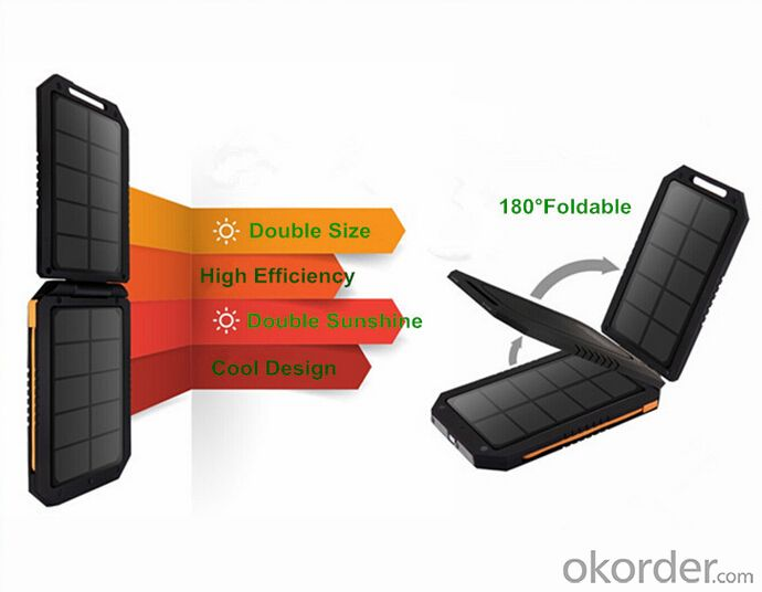 Solar Power Bank 6000mAh Solar Charger for Mobile Phone