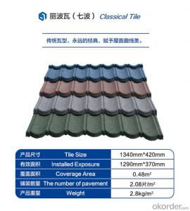 Colorful Stone Coated Steel Roofing Tile--Classical Type with Seven Waves
