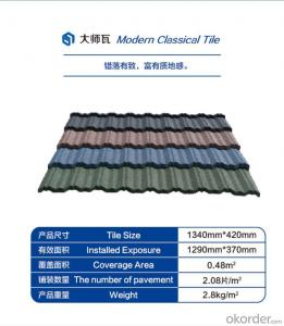 Colorful Stone Coated Steel Roofing Tile--Modern Classical Type with Seven Waves