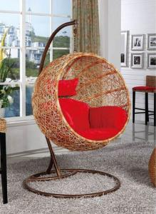 Outdoor Swinging Chair Round Shape Honey Color