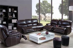 Black Leather Recliner Sofa for Living Room