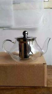 3 Pieces Hand Blown High Borosilicate Glass Tea Pot