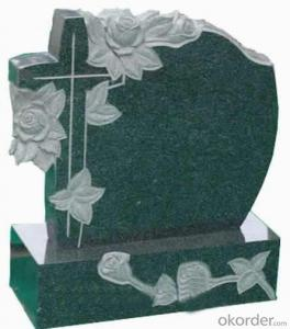 Cheap Monument Headstone and Tombstone with Green Color and Angle Design