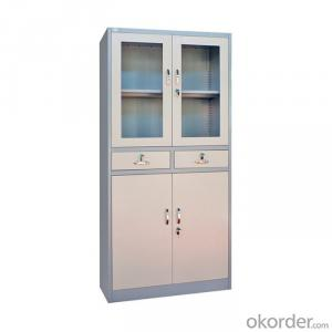 Steel Filing Cabinets Metal Storage Containers with Glass Door Cupboard Cmax-FC04-001