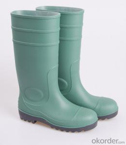 Safety Boots Green Safety PVC Rain Boots with Steel Toe