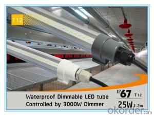 Waterproof IP67 1.2mx25W 3000W Dimmable T12 LED Tube