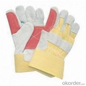 PVC Inner Split Double Palm Leather Work Glove in China