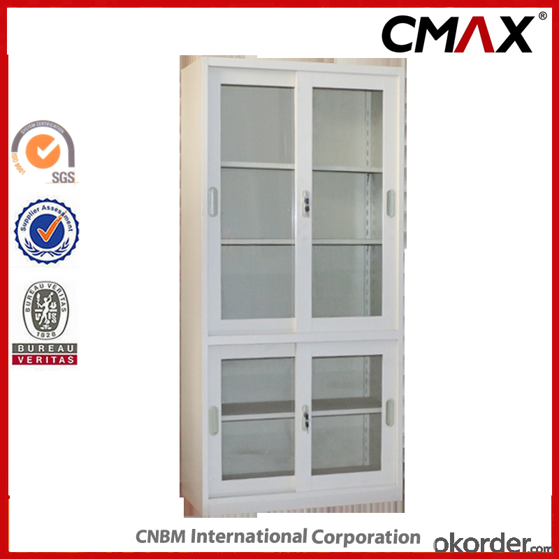 Office Filing Sliding Door Cupboard with Glass Window