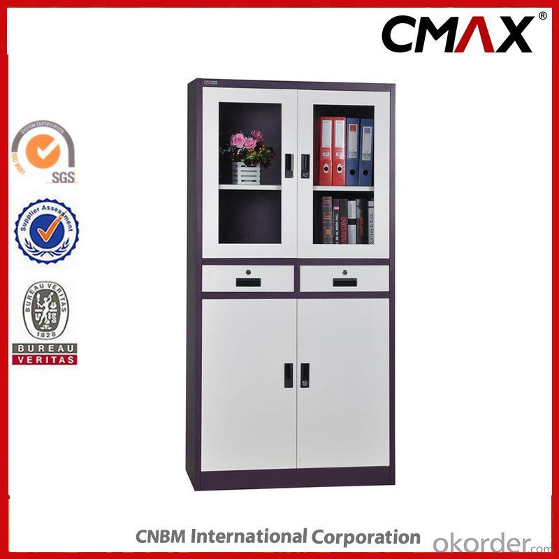 Metal Swing Door Filing Cabinet with Glass Steel Office Furnitre