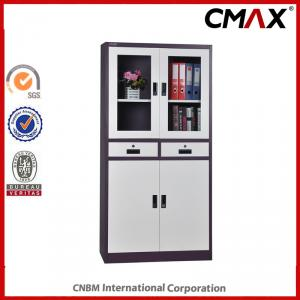 Metal Swing Door Filing Cabinet with Glass Steel Office Furnitre