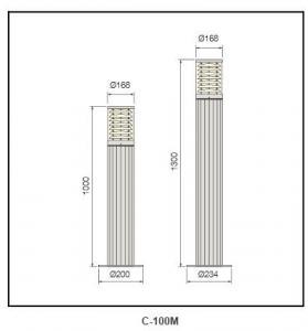 Anodized aluminum reflector Bollard Lighting c-100M