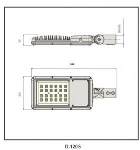 super white tempered glass street light D-120S