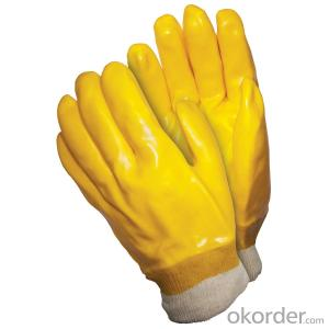 M101-01 yellow PVC Coated smooth knit wrist glove for working