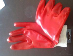 M101-01Red PVC Coated Gloves Knit Wrist Smooth Protect Hand