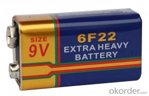 Extra Long Life super heavy duty battery 6F22 9V / Carbon Zinc battery