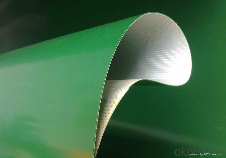 buy light industry green pvc  pu conveyor belt smoth gloss