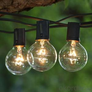 UL CE Spool E12 sockets G40 incandescent globe bulb Christmas holiday decorative string lights