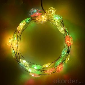 Snowflake Copper Wire String Light with 3AA Battery Box 20 Lights for Holiday Decoration.