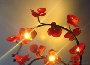 Orange Decorative LED PU Natural Artificial Butterfly Orchid Flower Light