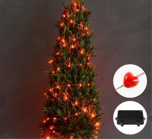 Red Copper Wire Outdoor Led String Christmas Lights with Remote Control and Power Supply