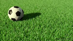 Green artificial turf used in footable courses.