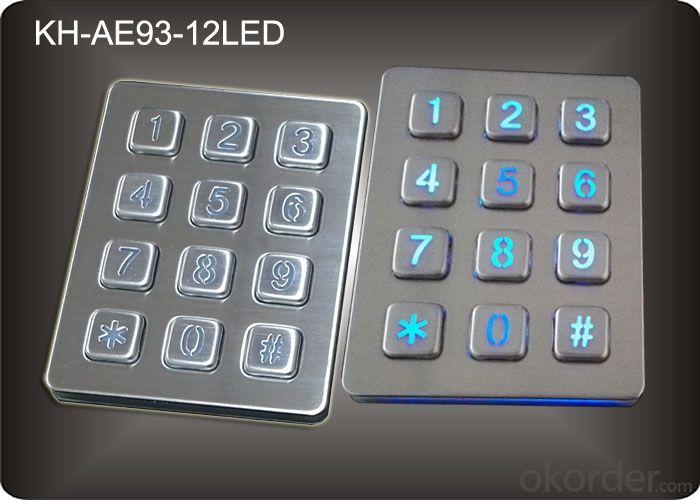 Buy Back light Numeric Keypad in 3x4 Matrix 12 Keys , Stainless