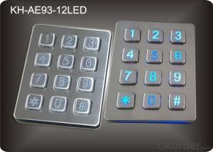 Back light Numeric Keypad in 3x4 Matrix 12 Keys , Stainless Steel Keypad