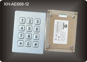 Stainless Steel Metal Keypad in 3x4 Matrix 12 Keys , Vandal Proof Keypad