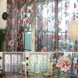 Floral Pink TulleSheer Curtains for Living Room the Bedroom