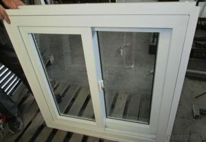 Pvc sliding window double glass with mosquito net 80 88 series plastic frame Horizontal