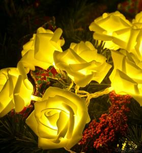 Warm White Rose Led String Lights for Outdoor Indoor Christmas Party Wedding Decoration
