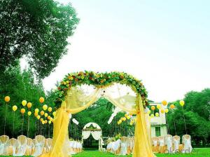 An artificial lawn decorated with garden weddings.