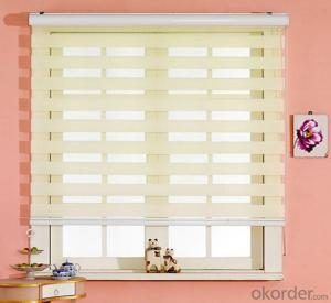 venetian blinds with motorized curtain for window