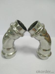 Stainless steel press fitting 45° bend V Profile 22mm V Profile 304