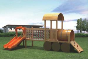 children preschool outdoor playground  wooden Amusement equipment slide