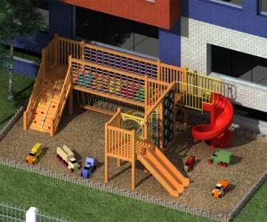 Outdoor Wooden Adventure Playground for Preschool