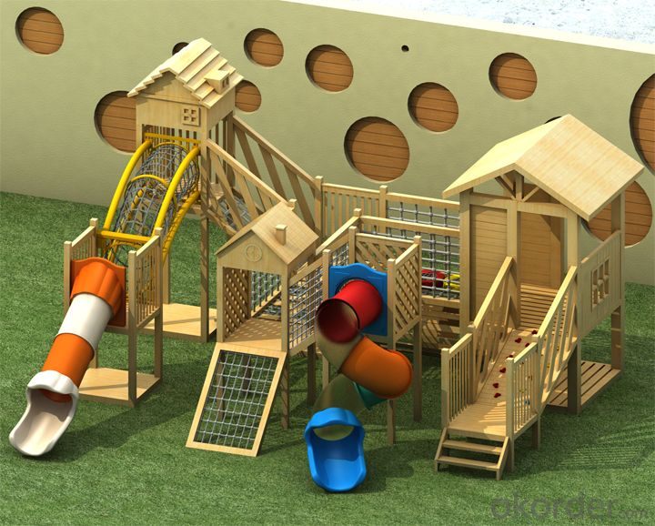children preschool wooden slide outdoor playground Amusement equipment
