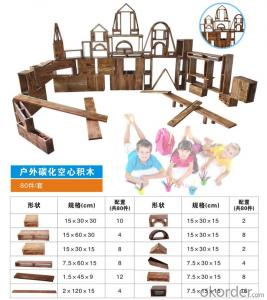 children preschool Carbonated wood toy brick wooden building blocks