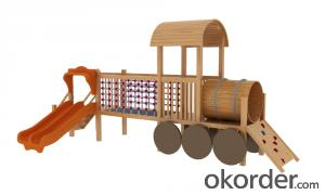 children preschool outdoor playground  wooden Amusement equipment slide