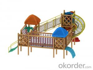 outdoor playground children preschool wooden slide Amusement equipment