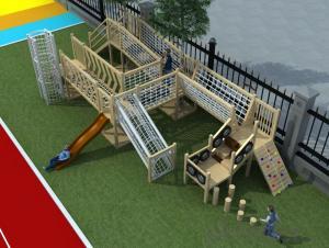 Kids Amusement equipment wooden outdoor playground preschool