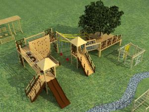Backyard Outdoor Adventure Wooden Playground for Preschool