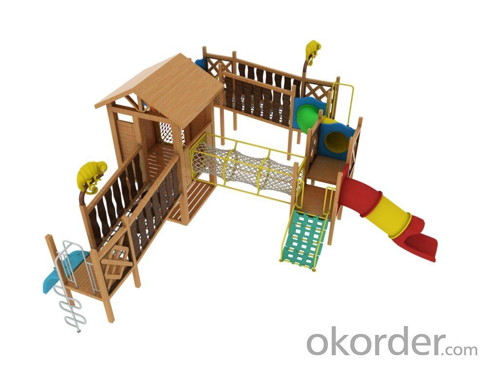 children preschool outdoor playground plastic wooden slide Amusement equipment