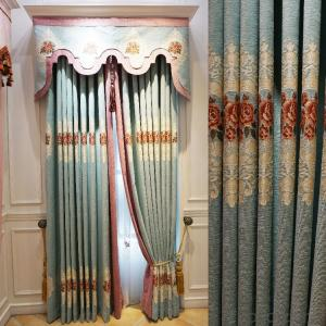 Curtains European chenille embossed jacquard curtain fabric