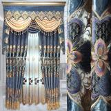 Home curtain hotel curtain  Chenille hot stamping embroidered curtain fabric blackout curtain fabric
