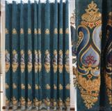 Home curtain hotel curtain blackout curtain Chenille embroidered  water soluble curtain fabric